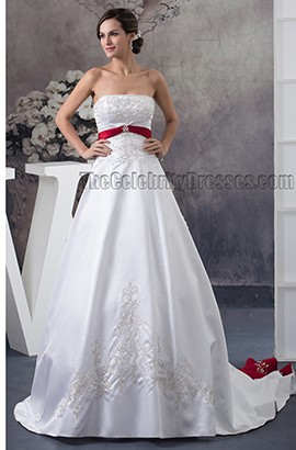 Strapless Embroidered A-Line Chapel Train White And Burgundy Wedding Dress
