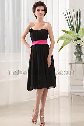 Elegant Strapless Knee Length Cocktail Dress Bridesmaid Dresses