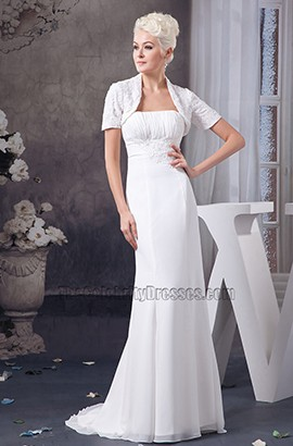 Elegant Strapless Sheath/Column Wedding Dress With A Wrap
