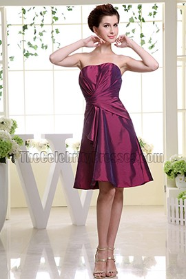 Strapless Short Taffeta Bridesmaid Dress Cocktail Dresses