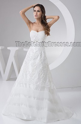 Embroidered Sweetheart Strapless A-Line Sweep Brush Train Wedding Dress