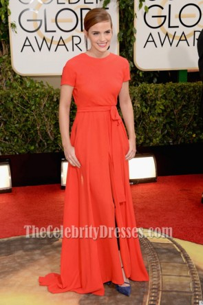 Emma Watson Red Backless Prom Dress 2014 Golden Globe Awards Red Carpe