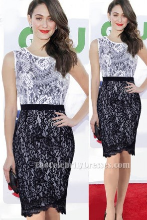 Emmy Rossum Short White And Black Lace Party Dress