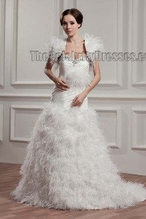 Feather A-Line Sweetheart Sweep/Brush Train Wedding Dress With A Wrap