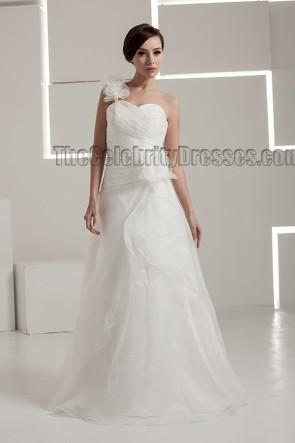 Floor Length A-Line One Shoulder Wedding Dresses