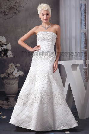Floor Length A-Line Strapless Beaded Lace Up Wedding Dresses