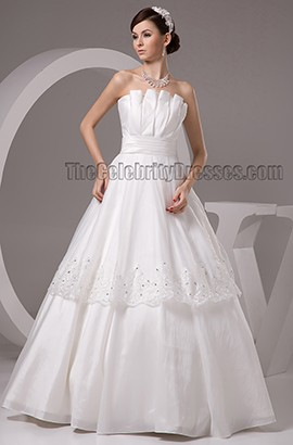 Floor Length A-Line Strapless Lace Up Wedding Dresses