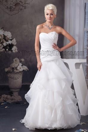Floor Length A-Line Sweetheart Strapless Organza Wedding Dress