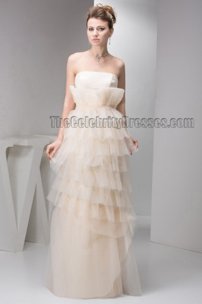 Floor Length Champagne Strapless Bridal Gown Wedding Dress