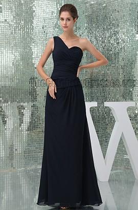 Floor Length Dark Navy One Shoulder Bridesmaid Prom Dresses