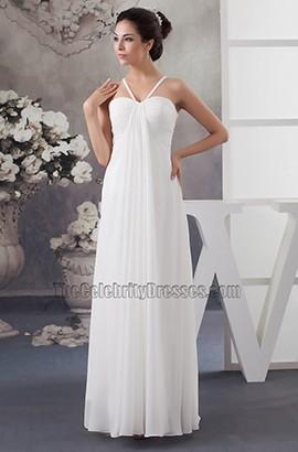 Floor Length Ivory Chiffon Beach Wedding Dresses