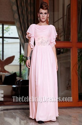Floor Length Pink Chiffon Formal Gown Evening Prom Dress
