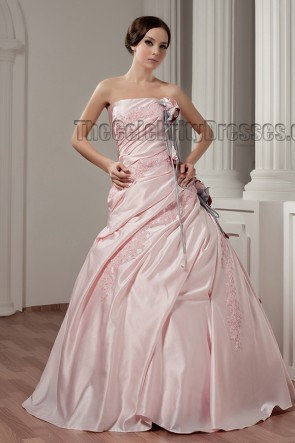 Floor Length Pink Strapless Embroidered Wedding Dress