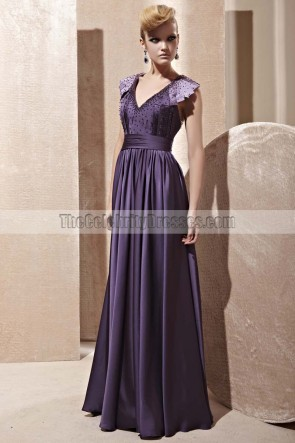 Floor Length Purple Open Back Evening Dress With Beading