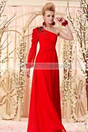 Floor Length Red One Sleeve Beaded Evening Prom Dresses