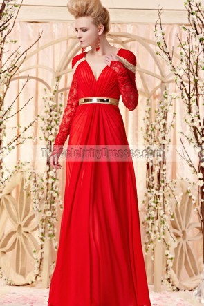 Floor Length Red V-Neck Long Sleeve Formal Dress Evening Gown