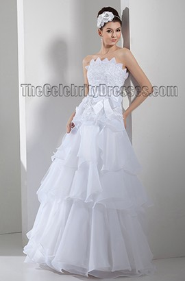 Floor Length Strapless A-Line Embroidered Wedding Dresses