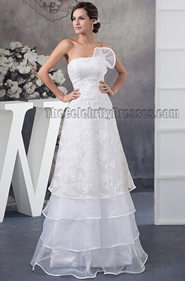 Floor Length Strapless Lace Organza A-Line Bridal Gown Wedding Dress