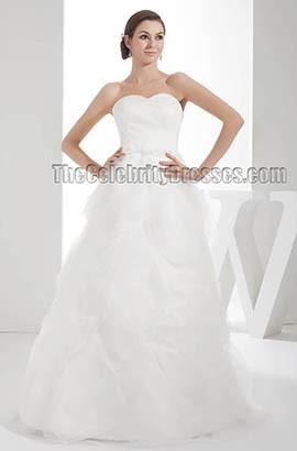 Floor Length Sweetheart Strapless A-Line Organza Wedding Dresses