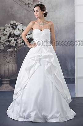 Floor Length Sweetheart Strapless A-Line Taffeta Wedding Dress