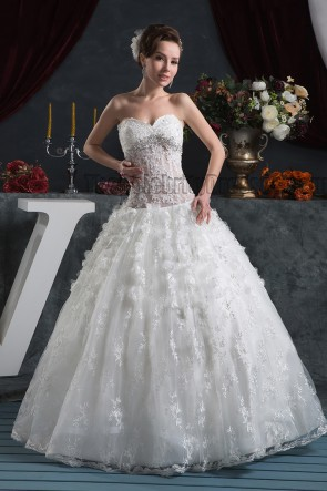 Floor Length Sweetheart Strapless Ball Gown Lace Wedding Dress