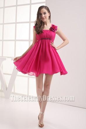 Cute Short Fuchsia Chiffon Homecoming Party Dresses