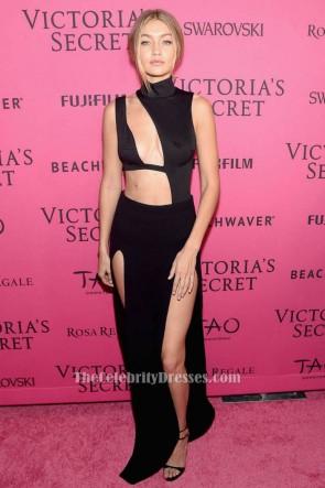 Gigi Hadidセクシーなブラックノースリーブのイブニングドレス2015ビクトリアの秘密のファッションパーティー後