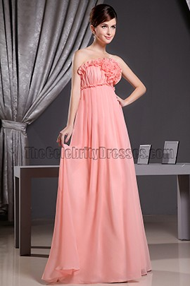 Coral Strapless A-Line Prom Dress Formal Bridesmaid Dresses