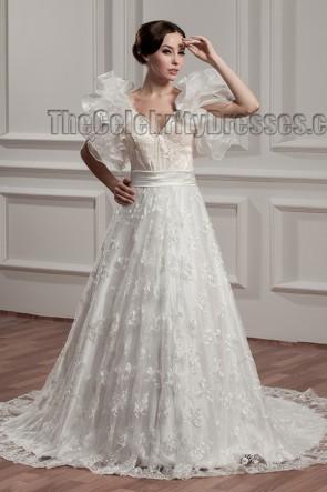 Gorgeous A-Line V-Neck Lace Chapel Train Wedding Dresses