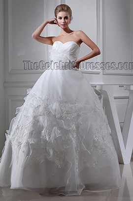 Gorgeous Ball Gown Sweetheart Strapless Organza Wedding Dresses