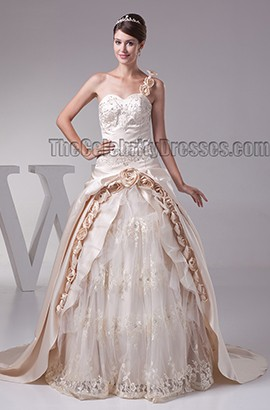 Gorgeous Champagne One Shoulder Embroidered A-Line Wedding Dress
