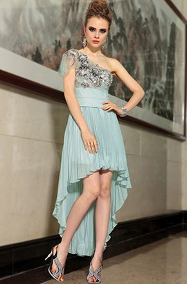 Gorgeous High Low One Shoulder Chiffon Prom Gown Party Dresses