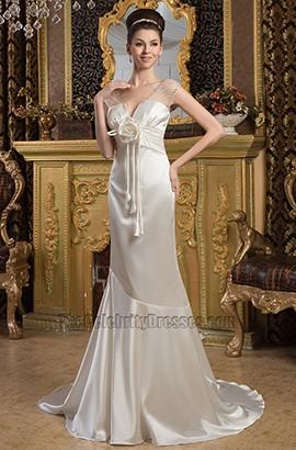 Gorgeous Ivory Trumpet Mermaid Sweep/Brush Train Wedding Dress