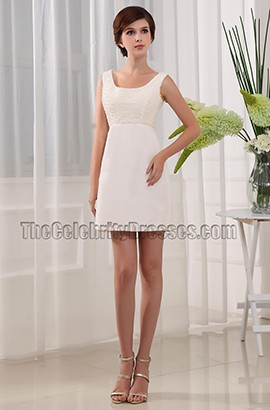Short \Mini Ivory Beaded Party Dress Homecoming Dresses