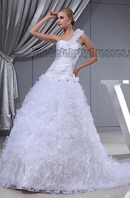 Gorgeous One Shoulder Ruffles A-Line Chapel Train Wedding Dress