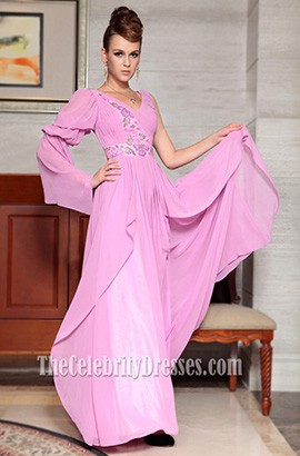 Gorgeous Pink One Sleeve Chiffon Formal Dress Prom Gown