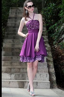 Gorgeous Purple Halter A-Line Cocktail Graduation Dresses