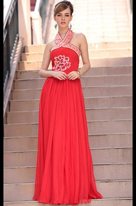 Discount Red Embroidered Halter Formal Dress Evening Gown
