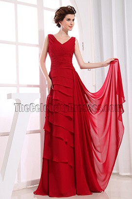 Gorgeous Red V-neck Prom Dress Formal Evening Dresses