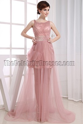 Skin Pink Tulle Beaded Prom Dress Evening Party Dresses