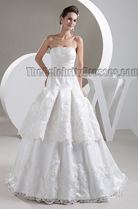 Gorgeous Strapless A-Line Embroidered Sweep/Brush Train Wedding Dress