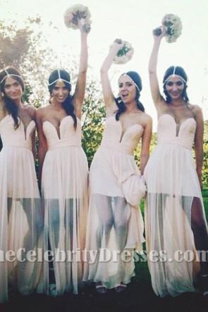 Gorgeous Strapless Chiffon Evening Gown Bridesmaid Dresses
