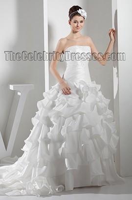 Gorgeous Strapless Embroidered Ruffles Chapel Train Wedding Dress