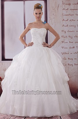 Gorgeous Strapless Organza Ball Gown Wedding Dress