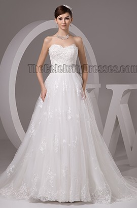 Gorgeous Sweetheart Strapless A-Line Lace Chapel Train Wedding Dresses