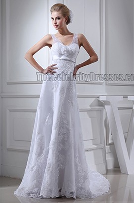 Gorgeous V-Neck Sleeveless Beaded Sweep/Brush Train Wedding Dresses