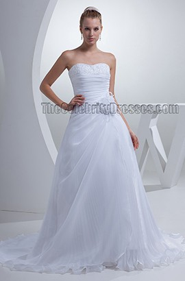 Gorgeous White Strapless A-Line Lace Up Chapel Train Wedding Dress