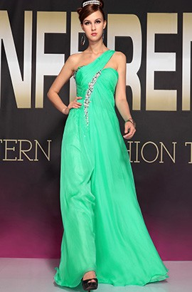 Green One Shoulder Beaded Prom Gown Evening Dress