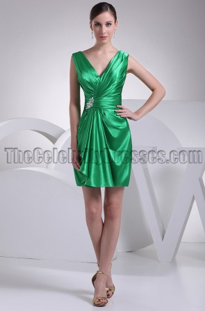 Green Short V-neck Party Homecoming Bridesmaid Dresses