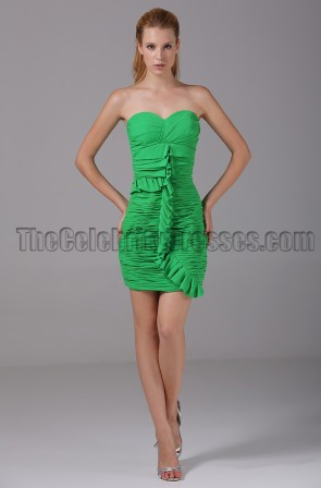Short Green Strapless Sweetheart Party Graduationg Dresses